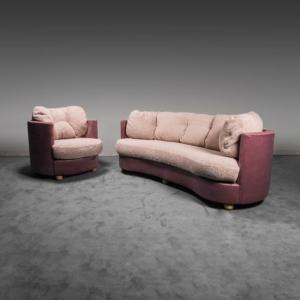 Set divano poltrona in velluto bouclé anni '70 Vintage