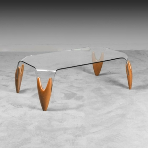 Tavolino da caffè cristallo stile Calligaris anni '70 Vintage