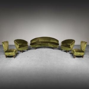 Set da 5 divano e quattro poltrone in velluto anni '50